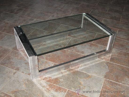 Mesa de centro de acero inoxidable metacrilato comprar muebles vintage en todocoleccion - Mesas de metacrilato ...