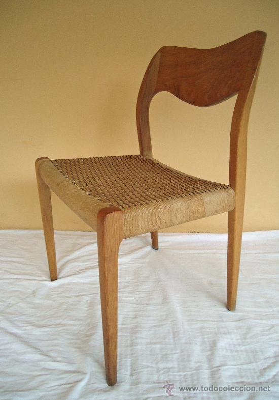 Cuatro sillas de comedor danesas moller num 7 comprar for Comedor cuatro sillas