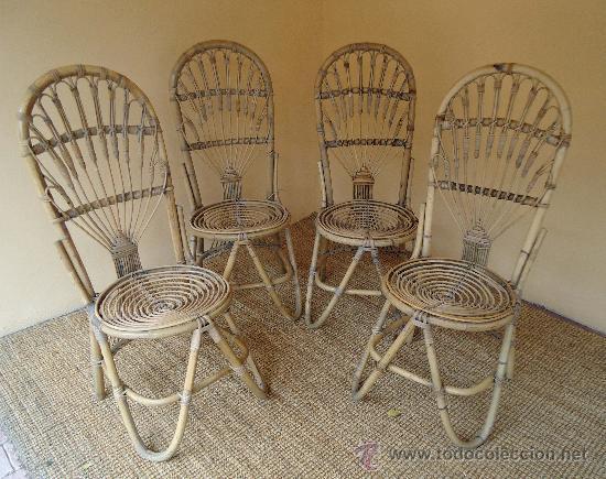 Conjunto de cuatro sillas mimbre espa a a os 6 comprar - Sillas de mimbre ...
