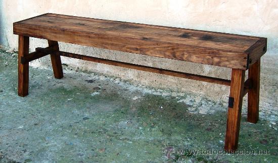 Banco de madera rustico mueble mide 150 cm de comprar muebles vintage en todocoleccion - Banco de madera rustico ...