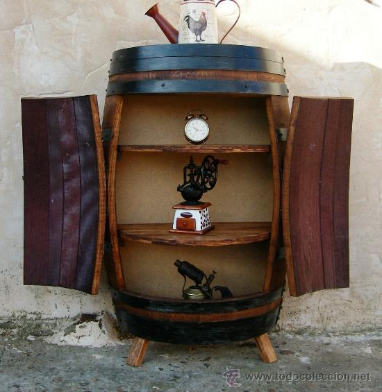 Mueble de madera barrica de vino estanteria mu vendido - Estanterias de vino ...