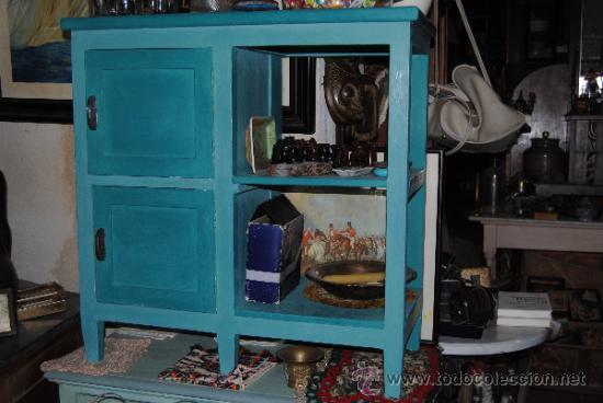 Mueble de cocina a os 50 en azul p tina comprar for Muebles de cocina anos 80