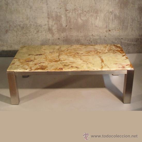 Vintage mesa de centro de aluminio y m rmol 1 comprar for Mesa centro marmol