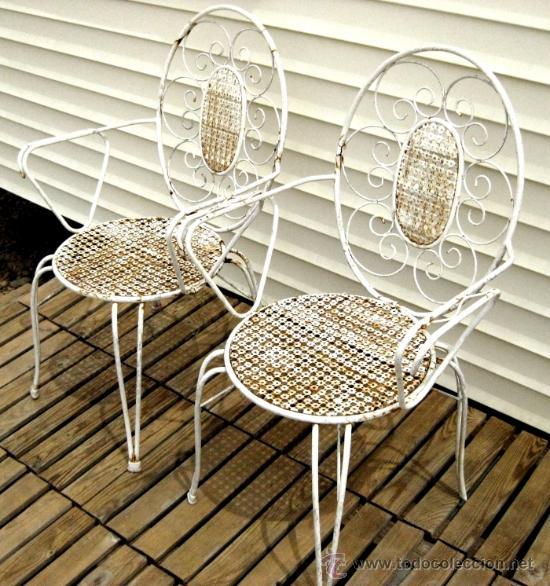Sillas antiguas de los 60 en forja silla an comprar for Sillas de jardin de hierro
