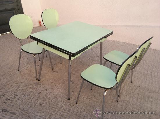 Mesa y 4 sillas de cocina de formica a os 60 comprar for Muebles de cocina anos 80