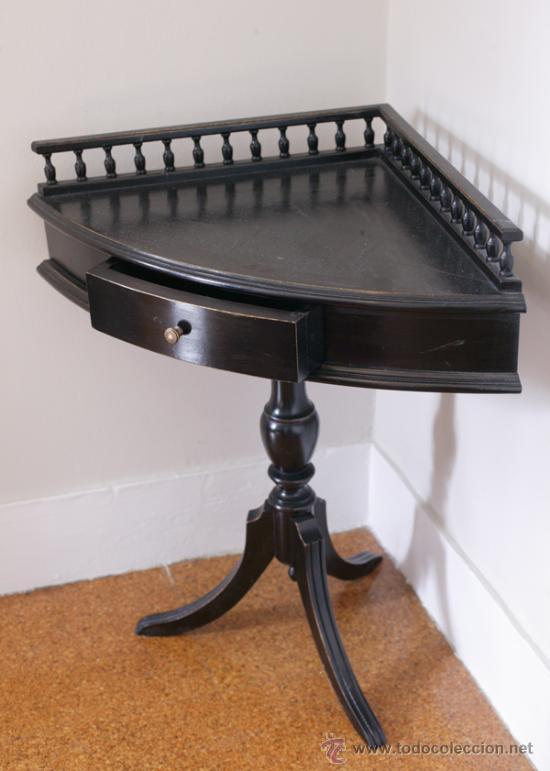 mesa auxiliar esquinera de madera negra comprar muebles