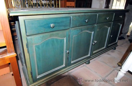aparador de pino pintado verde - Comprar Muebles vintage en ...