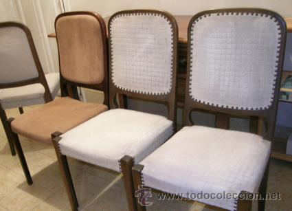 4 sillas madera tapizadas madera maciza de hay comprar - Sillas anos 60 ...