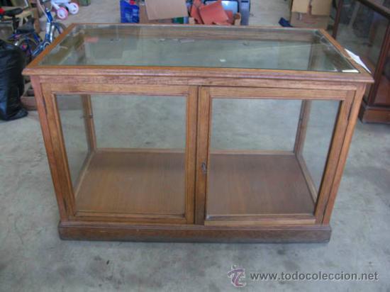 mostrador de madera de roble y cristal, antiguo - Comprar Muebles ...