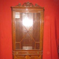 Vintage: VITRINA ESQUINERA AÑOS 50 EN MADERA DE BONITO DISEÑO.. Lote 36656557
