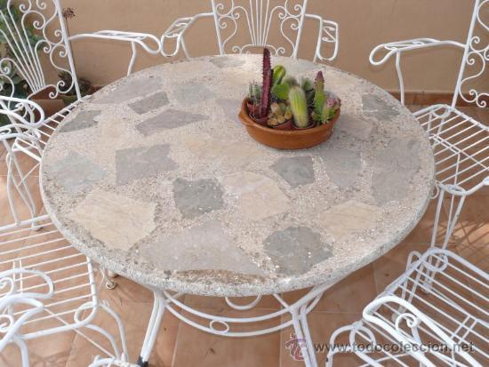 Gran Mesa Jardin Antigua Vintage Forja Hierro B Comprar Muebles - Muebles-de-forja-para-jardin