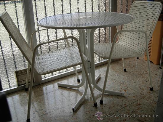 Conjunto de mesa y dos sillas con brazos para j comprar for Conjunto muebles terraza jardin