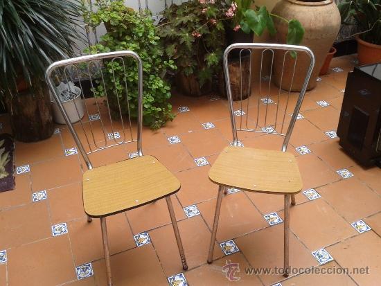Sillas vintage de cocina de metal cromado y for comprar - Sillas madera cocina ...