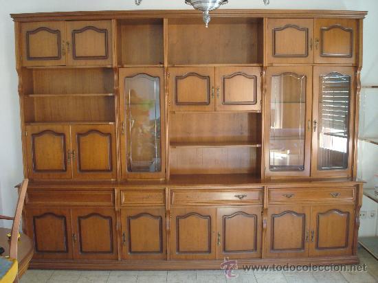 Conjunto de muebles de salón comedor de calidad años 70 (Mesa + 6 sillas +  armario + mesita mármol)