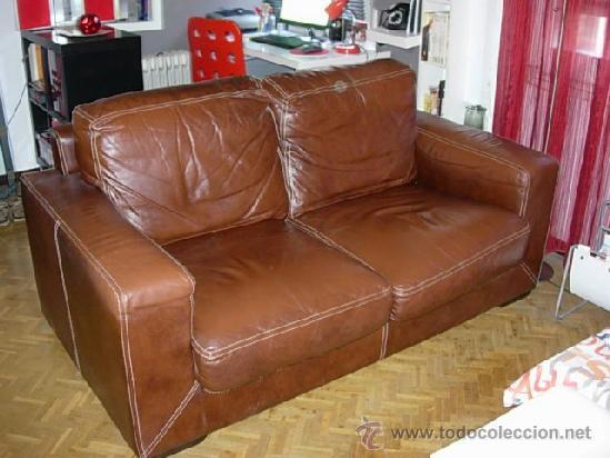 Sof de piel 2 plazas mesita y revistero comprar - Sofa piel vintage ...