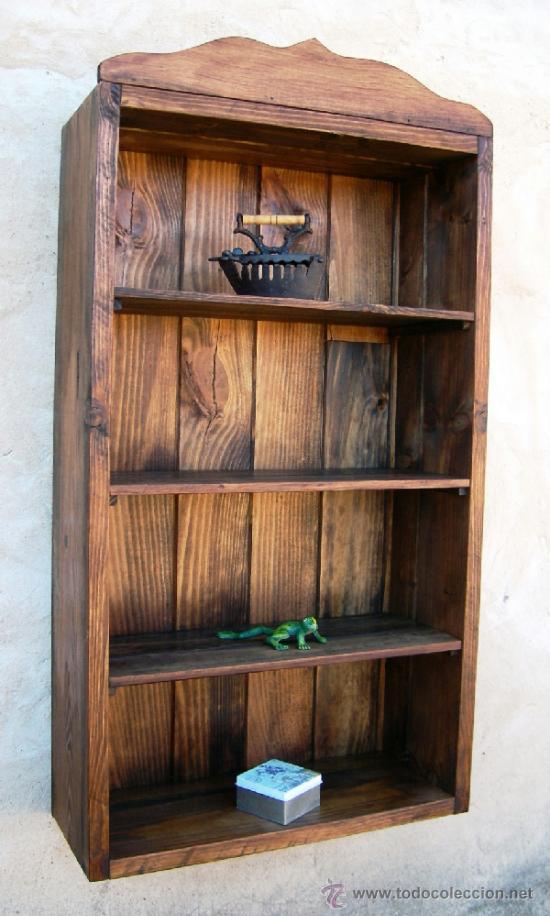 Mueble vitrina estanteria rustico 4 baldas m comprar for Mueble vitrina