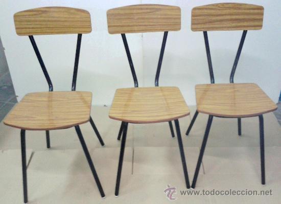 Magnifico conjunto de 3 sillas de formica de lo comprar muebles vintage en todocoleccion - Sillas formica ...