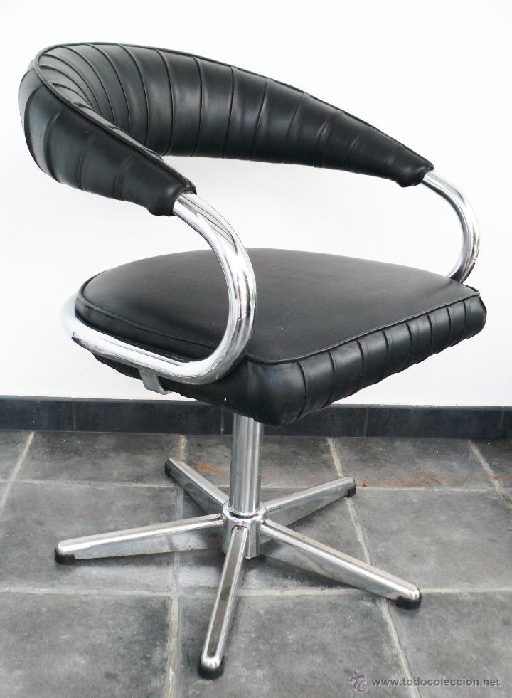 De dise o silla vintage acero y sky o piel negr comprar for Silla despacho diseno