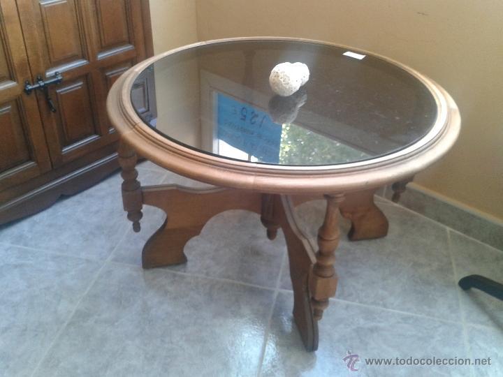 BONITA MESA EN ROBLE CON TAPA CRISTAL AHUMADO (Vintage - Muebles)