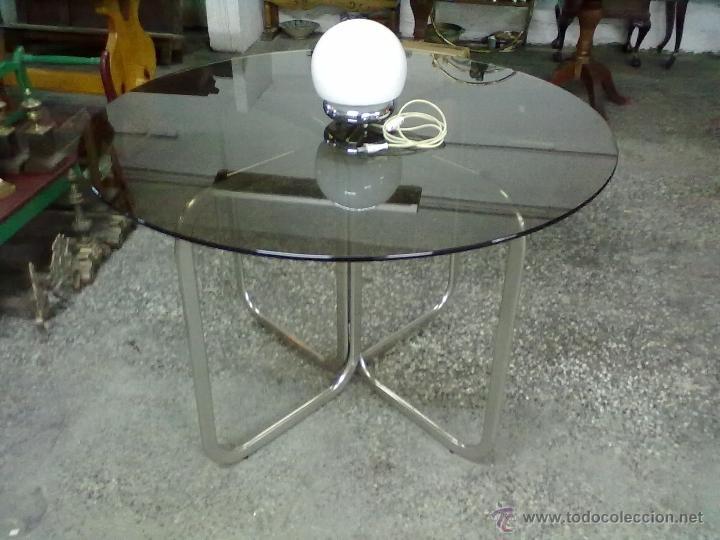 mesa redonda cristal ahumado pies hierro cromad comprar