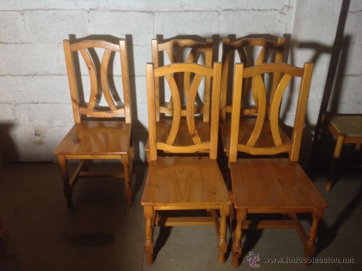 Juego de 6 sillas de comedor cocina probenzal comprar for Comedor de madera 6 sillas