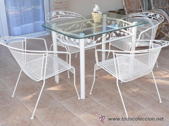 Lote 4 sillas hierro forja jardin en negro a os comprar for Sillas hierro jardin