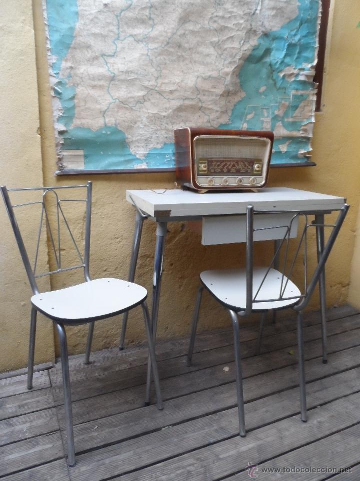 mesa y silla vintage retro formica y metal crom - Comprar Muebles ...