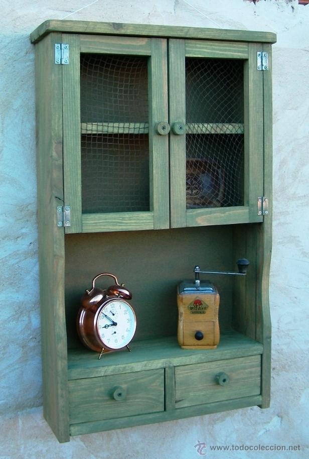 Mueble alacena de madera verde vintage mue36 comprar for Mueble alacena