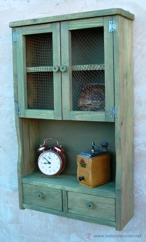 Mueble alacena de madera verde vintage mue36 comprar for Alacenas vintage