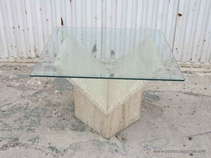 Mesa baja con pie de marmol y tablero de crista vendido - Mesas de marmol y cristal ...