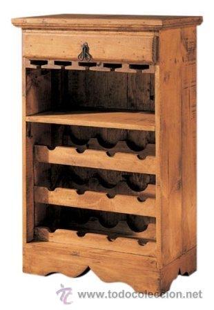 Botellero de madera con copero cajon y balda comprar for Mueble bar rustico
