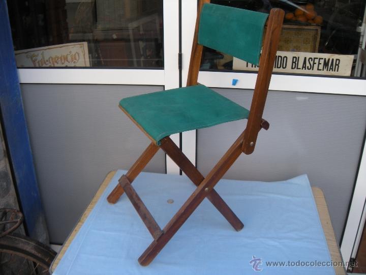 Silla Plegable De Madera Y Lona Verde Comprar Muebles Vintage En - Sillas-de-lona-plegables