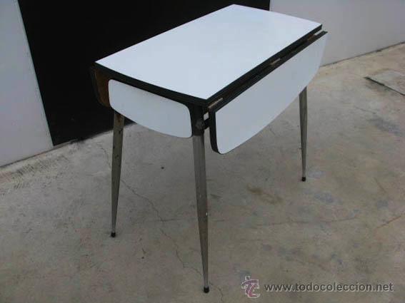 Mesa auxiliar de cocina extensible de conglome comprar muebles vintage en todocoleccion - Mesa cocina vintage ...