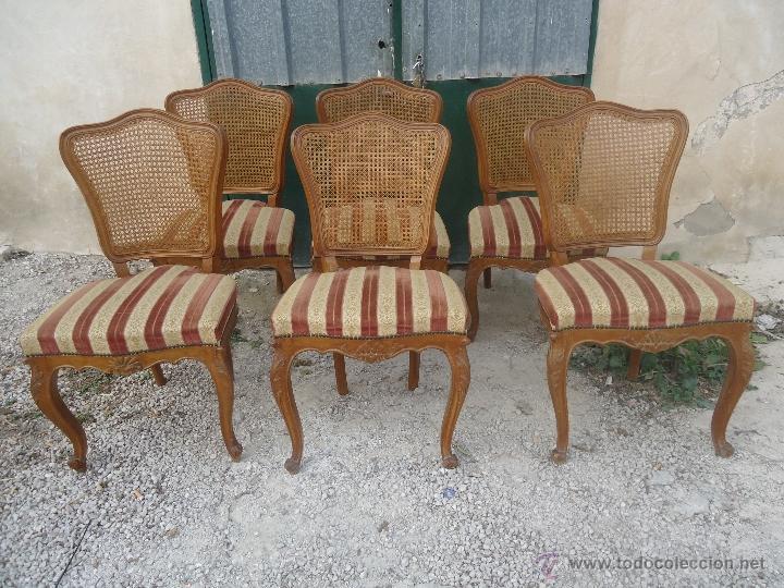 Reservadas 6 sillas estilo luis xvi con rejill comprar muebles vintage en todocoleccion - Sillas estilo luis xvi ...