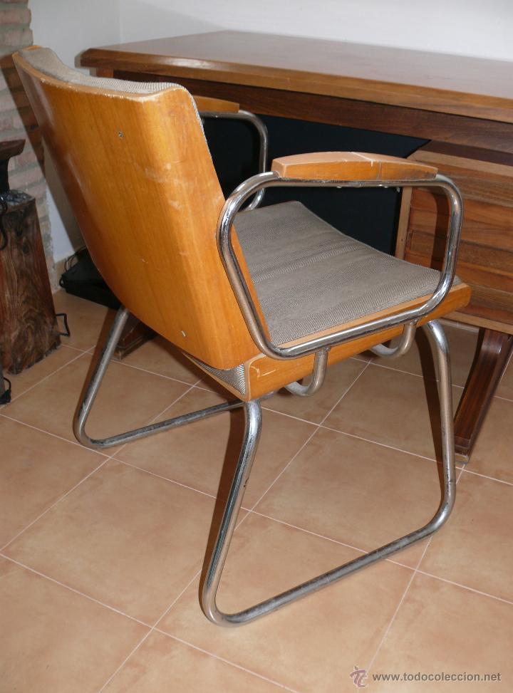 Silla escritorio vintage en madera y acero crom comprar for Silla escritorio diseno