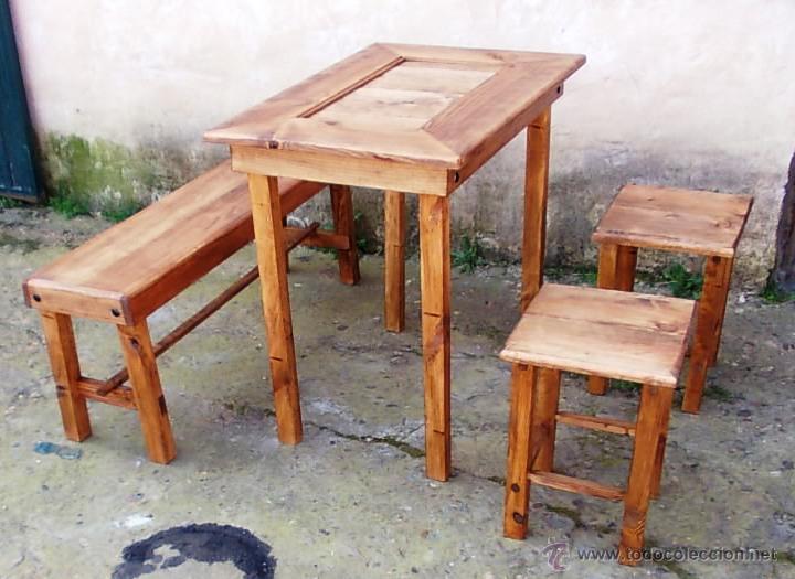 conjunto rustico ,,mesa de madera con banco y d - Comprar Muebles ...