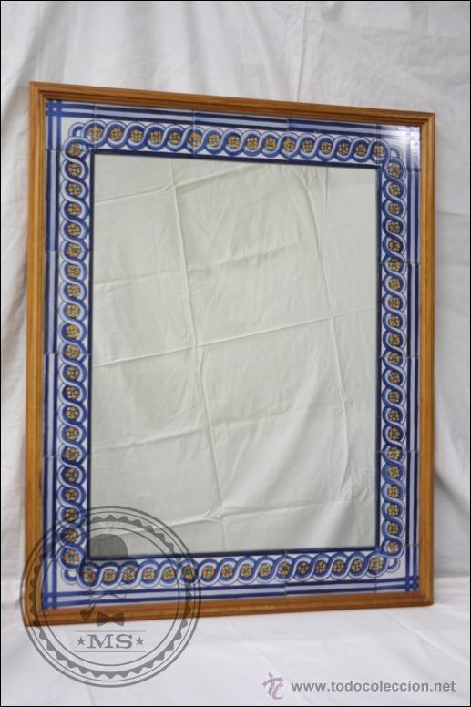 Precioso espejo decorado con cenefa de azulejos comprar - Cenefas para espejos ...