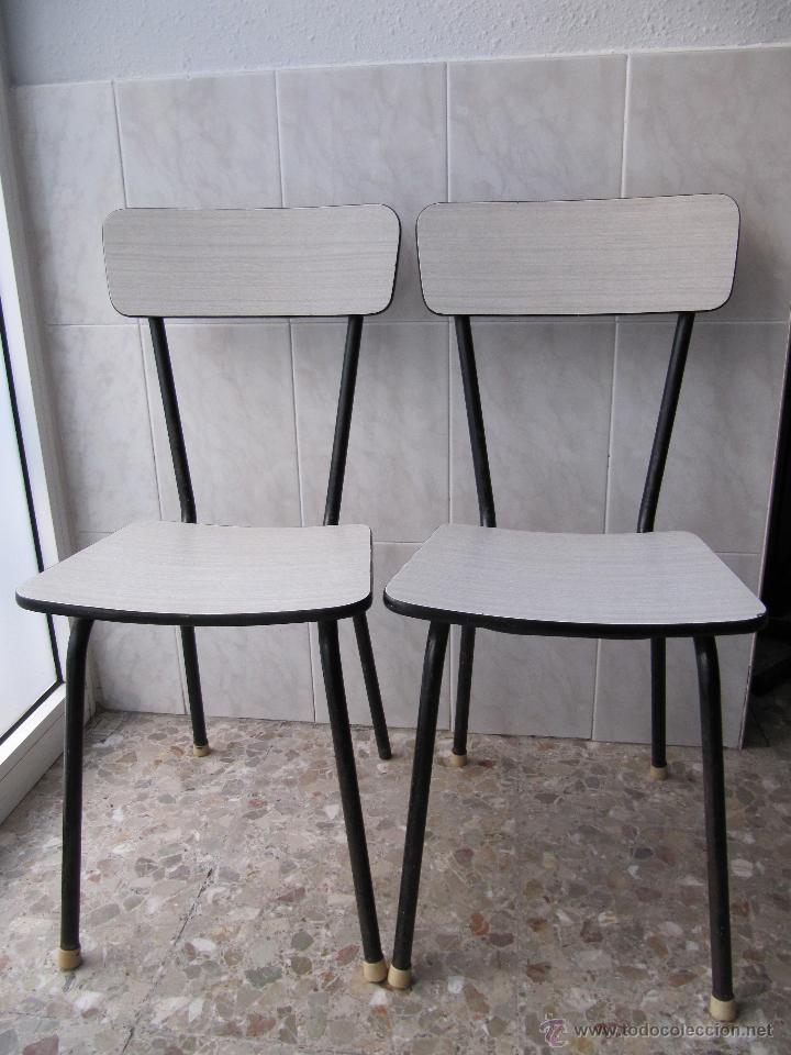 Lote 2 silla de formica color gris a os 60 70 comprar - Sillas anos 60 ...