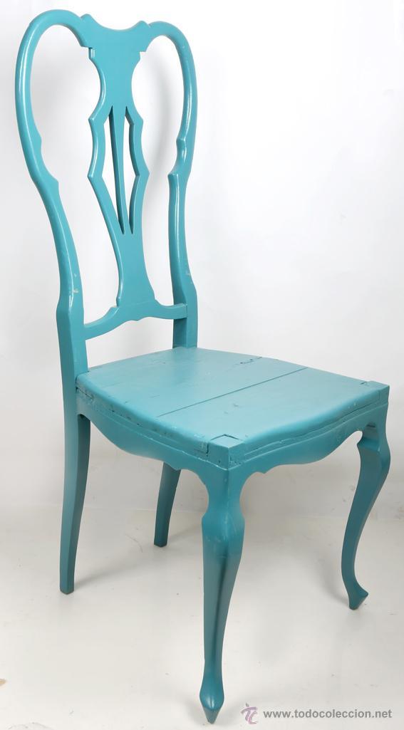 Preciosa silla de madera pintada en turquesa comprar for Sillas color turquesa