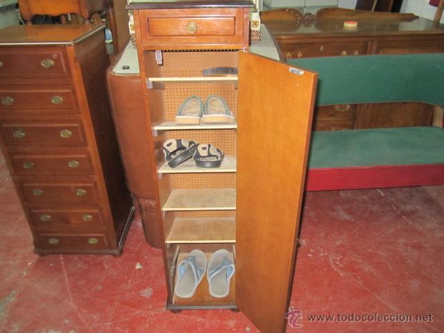 Mueble zapatero de madera con puerta y caj n comprar for Mueble zapatero vintage