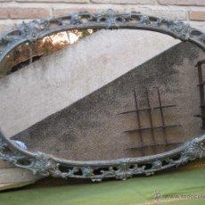 Vintage: ESPEJO OVALADO ANTIGUO CON MARCO DE BRONCE.. Lote 43073317