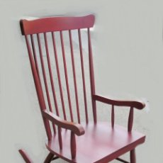 Vintage: MECEDORA VINTAGE, ROCKING CHAIR DE ESTILO ESCANDINAVO. COLOR ROJO ORIGINAL.. Lote 43352328