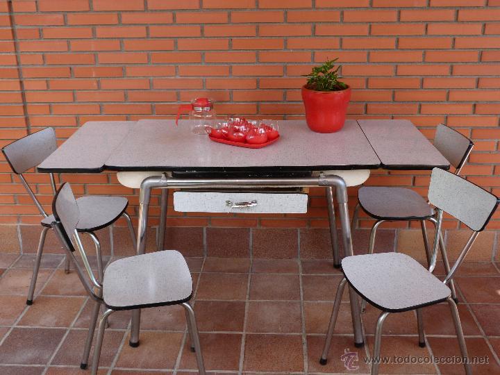 Conjunto de mesa y sillas de formica a os 60 comprar - Sillas anos 60 ...