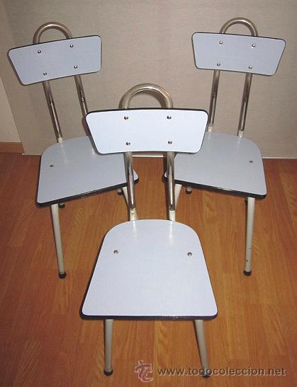 Tres sillas vintage de cocina, formica color az - Vendido en Venta ...