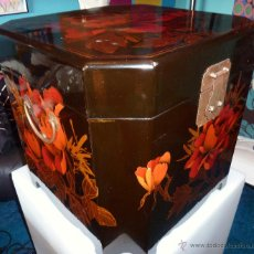 Vintage: BAUL EN MADERA ESMALTADA -ESTILO ORIENTAL.. Lote 43671161