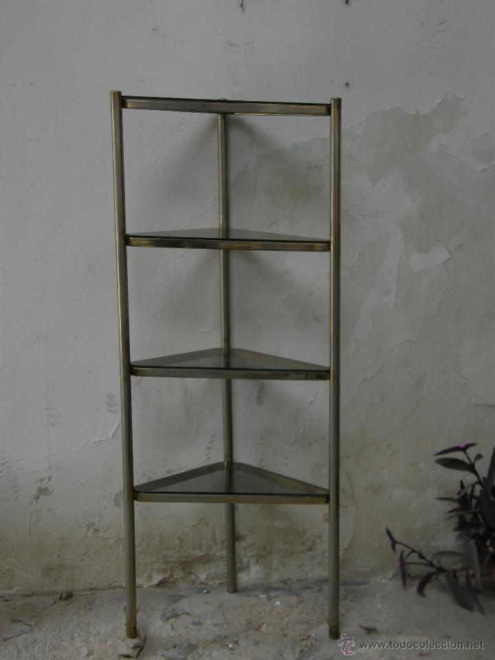 estantera de esquina esquinera metal blanco dorado baldas vidrio ahumado aos