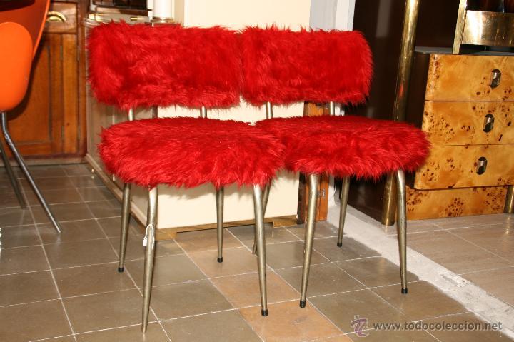 pareja de sillas de cocina rojas retro - Comprar Muebles vintage en ...
