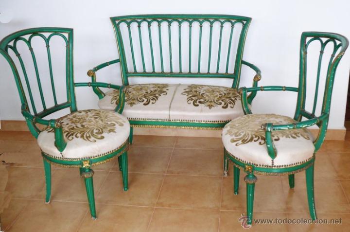 Precioso conjunto sofa tresillo y 2 silla antig comprar for Muebles el tresillo