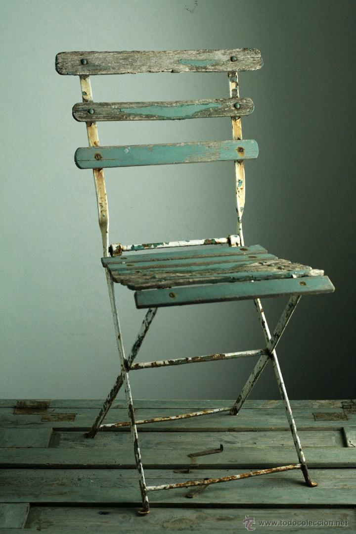 Lote 3 silla plegable jard n decoraci n vintage comprar for Sillas plegables jardin
