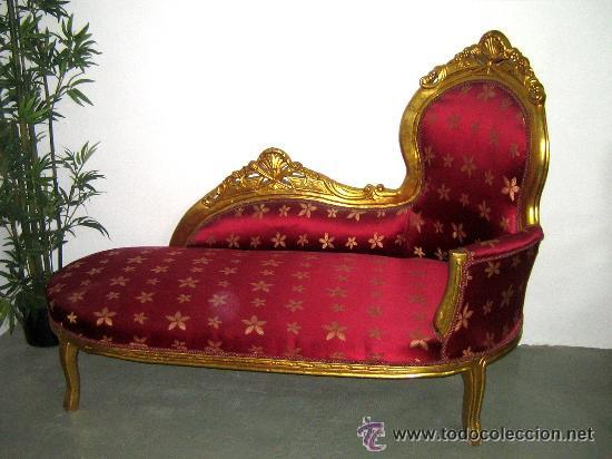Sof chaise longue estilo franc s dorada tapiz comprar for Sofa estilo frances